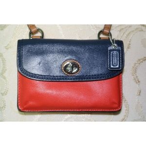 Coach Leather Orange Blue Mini Crossbody Bag Purse